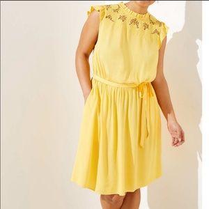 LOFT Plus Floral Lace Yoke Ruffle Dress Yellow